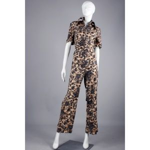 Vintage Pants - L/XL Vintage 70s Tribal Wide Leg Cotton Jumpsuit